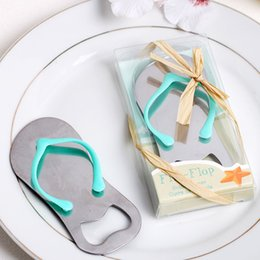 Wholesale Blue Wedding Flip Flops - (with Box) Beer Bottle Openers Stainless Steel Opener Flip Flop Slipper Cute Creative Household Kitchen Tool Wedding Favor Party Gifts Blue