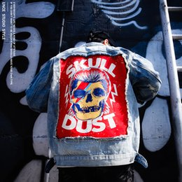 Wholesale Jeans Pattern Design - European and American wind, street rock, skull, day, retro, old hole, jeans, clothes, men's and women's jackets, casual jackets
