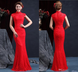 Wholesale Red Mermaid Chinese Wedding Dress - High Quality High Neck Sleeveless Chinese Mermaid Cheongsam Wedding Dresses 2017 Floor Length Zipper Back Red Lace Wedding Dress Bridal Gown