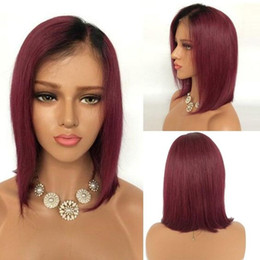 Wholesale Wigs Short Hair Red - Aura Glueless Short Red Ombre Straight Lace Front Bob Human Hair Wigs Peruvian Remy Wigs For Black Women No Tangle No Shedding