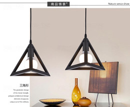 Wholesale Works Suspension - Nordic style creative pendant lamp triangle iron work suspension light loft industrial style pendant lighting canteen living room