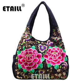 Бохо сумки оптом онлайн-Wholesale- Ethnic Flowers Boho Hobo Embroidery Embroidered Bags Ladies Women's Shoulder Shopper Bag Handbag Women  Bags  Logo