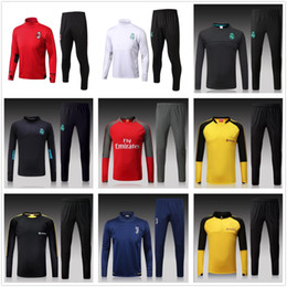 Wholesale Windproof Sweater - 2018 Long Winter ReaLs Madrid Tracksuit Jogging United Sweater Soccer Sets Ac Milan Suits The Blues Adults Tracksuit Winter Training Sets