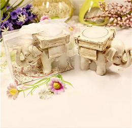 Wholesale Candle Elephant Favors - Free Shipping 100PCS Good Luck Elephant TeaLight Holder Party Favors Wedding Givaways w  Candle Inside Anniversary Gifts Party Table Supply