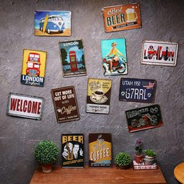 Wholesale Welcome Home Decorations - wholesale 20x30cm WELCOME LONDON COFFEE signs plaques for bar pub wall decor home decals tin sign metal painting poster