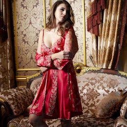 Wholesale Robe Set Red - 0348 Gorgeous Silk Blend Women Ladies Sleepwear Robe Gown Sets Sexy Lace Sleep Dress Nightclothes Nightdress Slip Nightgown Nighties