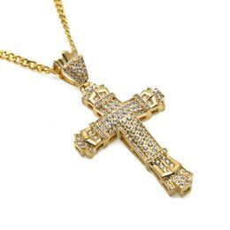 2019 18k gran cruz de oro Moda para hombre Iced Out Big Cross Colgante Collar Completo Rhinestone Joyería 18k Chapado en oro 70 cm Cadena larga Hip Hop Hombres para hombres 18k gran cruz de oro baratos
