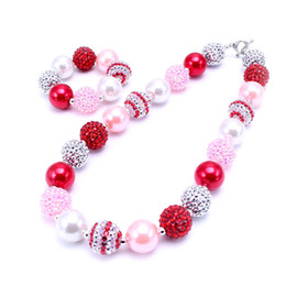 Wholesale Bubblegum Birthday Party - Newest Fashion Necklace Bracelet Set Birthday Party Gift For Toddlers Girls Bubblegum Baby Kids Chunky Necklace Jewelry Set