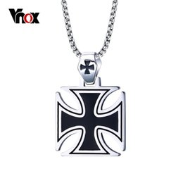Wholesale Iron Cross Chain - Wholesale- Vnox Mens Corss Necklace Stainless Steel Vintage Maltese Iron Cross Pendant Necklace Knights of the Temple