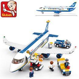 Wholesale Built Airplane Models - New Sluban Building Blocks B0366 Blue Airbus Airplane Model lepin Building Blocks 483pcs set DIY Educational bricks toy