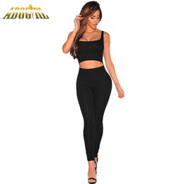 Wholesale Wholesale Two Piece Bodycon - Wholesale- Adogirl 2017 Summer Women Jumpsuits Rompers Long Pants Casual 2 Two Pieces Ribbed Cut Out Tank Bodycon Jumpsuit Macacao Female