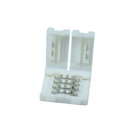 Tarjeta de pcb color online-20 unids / lote RGB LED tira Conector 4pin 10mm LED conectores de la tira PCB placa de conexión de cable para 5050 RGB tira de color