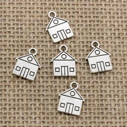 Wholesale Silver House Pendant - Wholesale 130pcs Charms Tibetan Silver Bronze Plated cabin house building 16*12mm Pendant for Jewelry DIY Hand Made Fitting