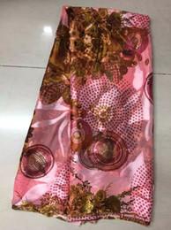 Wholesale Pink Chiffon Fabrics - 5Y pc Hot sale pink elastic printed pattern silk chiffon african smooth and soft silk lace fabric with rhinestone JS16-2