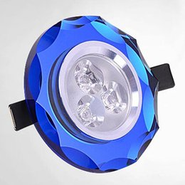 Wholesale Led Wall Mounted Spotlights - Modern Fashion 3W Led Crystal Ceiling Light 3W Downlight Wall Lamp AC85-265V Laciness Crystal Lamp 7 colors Indoor Ceiling Light Spotlight