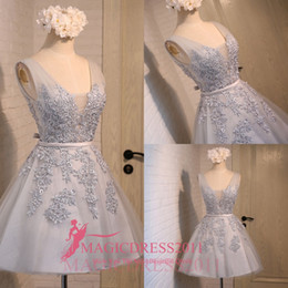 Wholesale Sexy Mini Ruffles Dresses - Little Silver Party Dresses 2016 A-Line Sheer Straps Prom Homecoming Dress Appliques Short Mini Vintage Hepburn Gowns Cocktail Night Club