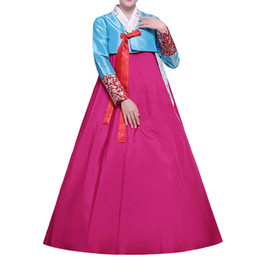 Wholesale Korean Ladies Long Skirts - FASHION Women's Korean Traditional Costume Ladies Long Sleeve Classic Hanbok Dress Set 16 colors Free Shipping