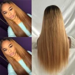 Pelucas rubias del pelo humano barato online-T1B / 27 # honey blonde virginal del pelo humano barato eurasiático sedoso recto ombre peluca llena del cordón peluca