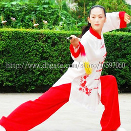 Wholesale Children S Clothing For Girls - Chinese Tai chi clothing taiji sword suit kungfu uniform performance garment wushu outfit for men women children boy girl kids adults