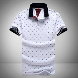 Wholesale Polo Shirt Gray - New Mens Printed Polo Shirts 100% Cotton Short Sleeve Camisas Polo Stand Collar Male Polo Shirt M-3XL