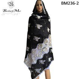Canada Vente en gros de nouvelles écharpes africaines, écharpe noire musulmane brodée musulmane, grande écharpe de broderie pour châles enveloppe livraison gratuite cheap african scarves wholesale Offre