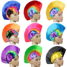 wholesale wigs hairpieces Coupons - Punk Hairpiece Halloween Cockscomb Shape Wig Funny Holiday Party Supplies Dresses Headdress Masquerade Periwig Multi Colour 5 5jh C R