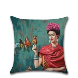 Wholesale Free Butterfly Prints - 2pc set Cushion Cover Frida Kahlo Pillow Case Flower Butterfly Throw Pillow Cover Self-portrait Sofa Bedroom Home Decorative free shipping