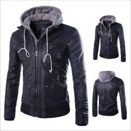 Wholesale Wholesale Zipper Jackets - Motorcycle Leather Coats Men Leisure Jackets Youth Casual Jumper Slim Winter Overcoat Fashion Outerwear Top Outerwear Men's Clothing B3333