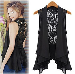 Wholesale Ol Blouse Plus Size - Plus size fashion Woman Chiffon Lace Shirts Blouses OL Lady V Collar Sleeveless Sexy Backless Club Cardigan Waistcoat long tops