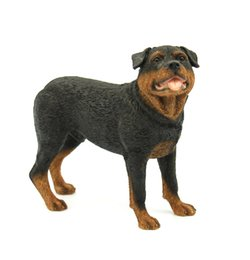 Wholesale Painted Statue - Rottweiler Dog Figurine - Polyresin Handicraft Standing Puppy Sculpture 6 inches Rottweiler Dog Statue Hand Painted for sale