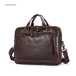 Bag businessmen à vendre-YUPINXUAN Sacs à main pour hommes en cuir de vache Sac à main en mode homme Sac en cuir véritable Zipper Mallettes Multifunction Men Brief Case Russie