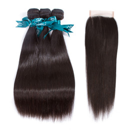 Wholesale Middle Part Closure Weave Straight - Peruvian Silk Straight With Lace Closure Free Middle Or 3 Ways Part 100% Unprocessed Brazilian Peruvian Straight Virgin Human Hair Weave