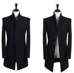 Wholesale Single Button Pea Coat - Wholesale- British style teens Men's winter coat stand Collar black woolen coat mens Brand essence Single-breasted mens pea coat S - 9XL