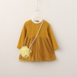 Wholesale Wholesale Yellow Tulle - Everweekend Girls Tulle Ruffles Dress with Flower Bag Cute Kids Yellow Purple and Green Color Clothes Princess Fall Party Dress
