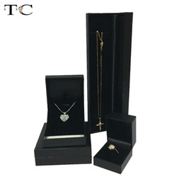 Wholesale Black Neclace - 4pcs lot Ring Box Neclace Pendant Earrings Cases Jewelry Gift Boxes Organizer Cases Black Leatherette Packaging Gift Box Free Shipping