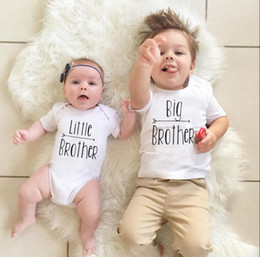Wholesale T Shirts Fashion Baby Boy - Baby Boys Brothers Matching Outfits Big Brother Letters Print T shirt+ Rompers Family Suits Kids Summer Clothes Baby Family Clothing FOC02