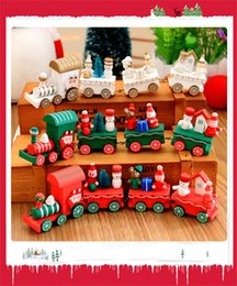 Wholesale Gifts Sets For Children - Toys For Children Xmas Wooden Train Kids Christmas Gifts Snowman Santa Tree 4 Segments Innovative Train Christmas Model Toys
