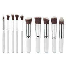 Wholesale Mint Brushes - Wholesale- Mint 10PCS 1Set Brushes Make Up Beauty Cosmetics Foundation Blending Makeup Brush Kit Set Wooden Makeup Tool Jul07