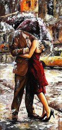 Wholesale Art Abstract Painting Oil Lover - Framed Lovers in The Rain by Emerico Toth,Pure Handpainted Impressionism Portrait Art Oil Painting On canvas,Free Shipping,in Multi Szs