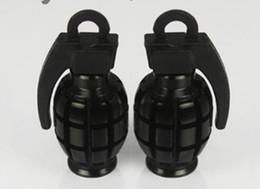 Wholesale Tyre Valve Metal - Black Free Shipping Car Auto Bike Metal Grenade Design Tire Tyre Valve Dust Valve Caps