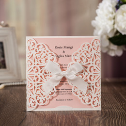 Wholesale Wedding Laser Card - Laser Cut Flower Wedding Invitation Cards Personalized Pink Hollow Wedding Party Printable Invitation Cards Ribbon with Envelope Sealed Card