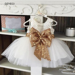 Wholesale White Casual Bridesmaid Dresses - Summer Girl Bow Lace Dress Carnaval Costumes For Kids Sequins Tulle Party Wedding Frock Children Deguisement Bridesmaid Ceremony