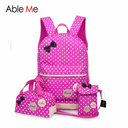 Wholesale School Bag Princesses - 3pcs set Lovely Children Bags 2017 New Fashion Bow Design Backpack Princess School Kids Backpack for Girls And Boys