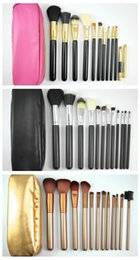 Wholesale Goat Hair Makeup Brushes Pink - HOT Makeup Brushes 12 pieces Professional Makeup Brush set Kit Pink Black  nude gold+FREE GIFT