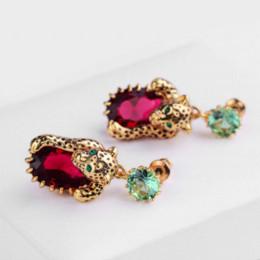 Wholesale Les Nereides - France Les Nereides Leopard Red Green Gem Drop Earrings For Women Brand Party Jewelry Good Gift Luxury Elegant