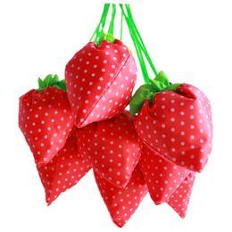 Wholesale Strawberry Reusable Bags - Nylon Portable Creative Strawberry Folding Bag For Women Reusable Environmental Protection Shopping Bags Handbags