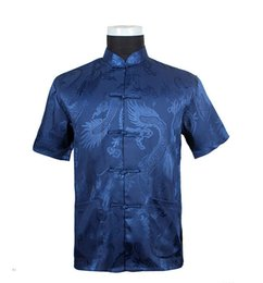 Wholesale Mandarin Collar Shirts Wholesale - Wholesale- Free Shipping!Hot Sae Chinese Tradition Style Men's Blue Dragon Pattern Kung Fu Short Sleeve Shirts M-L-XL-XXL-3XL