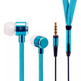 Wholesale Shoelace Earphones - New Universal 3.5mm Shoelace In Ear Earphone Stereo Metal Headphone With Mic for Cell Phone MP3 Player