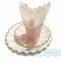 wedding shower plates napkins coupons wholesale free ship 40 sets disposable party tableware foil