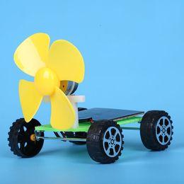 Wholesale Electric Car Solar - Wholesale- Children science physics experiment DIY technology solar wind car model assembling electric vehicle